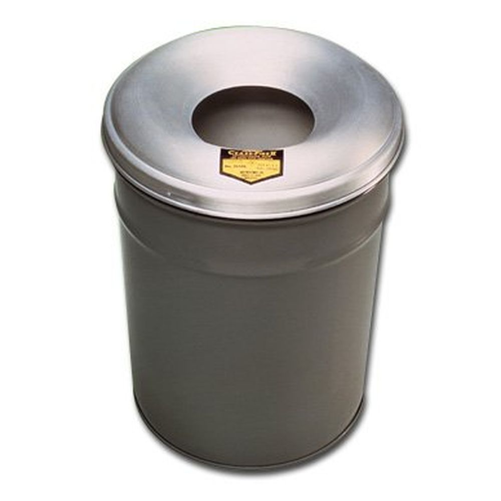 Cease-Fire Steel Paper Waste Receptacle with Alum. Head, 55 Gal. Cap.