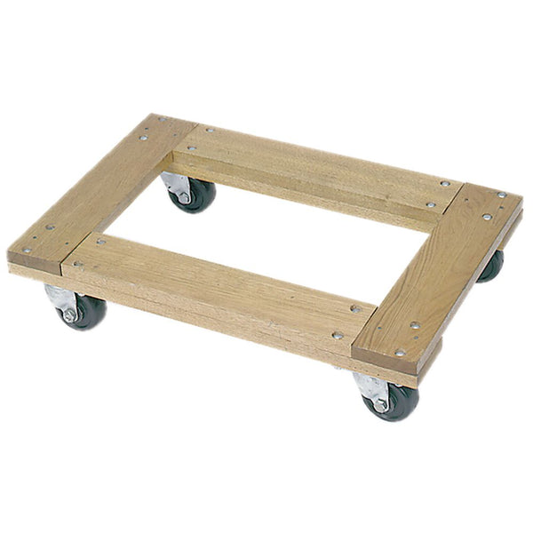 "Flush Open Deck Wood Dolly (3"" Hard Rubber Wheels) - 900lb. Capacity"