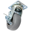 "5"" x 2"" Ergolastomer Wheel Swivel Caster w/ Top Lock Brake - 1,400 lbs. Cap."
