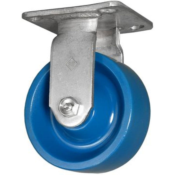 "8"" DuraLastomer Wheel Rigid Caster Stainless Steel - 1000 lbs. Cap."