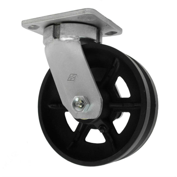 "6"" x 2"" V-Groove Cast Kingpinless Swivel Caster Med Heavy Duty,1000# Cap"