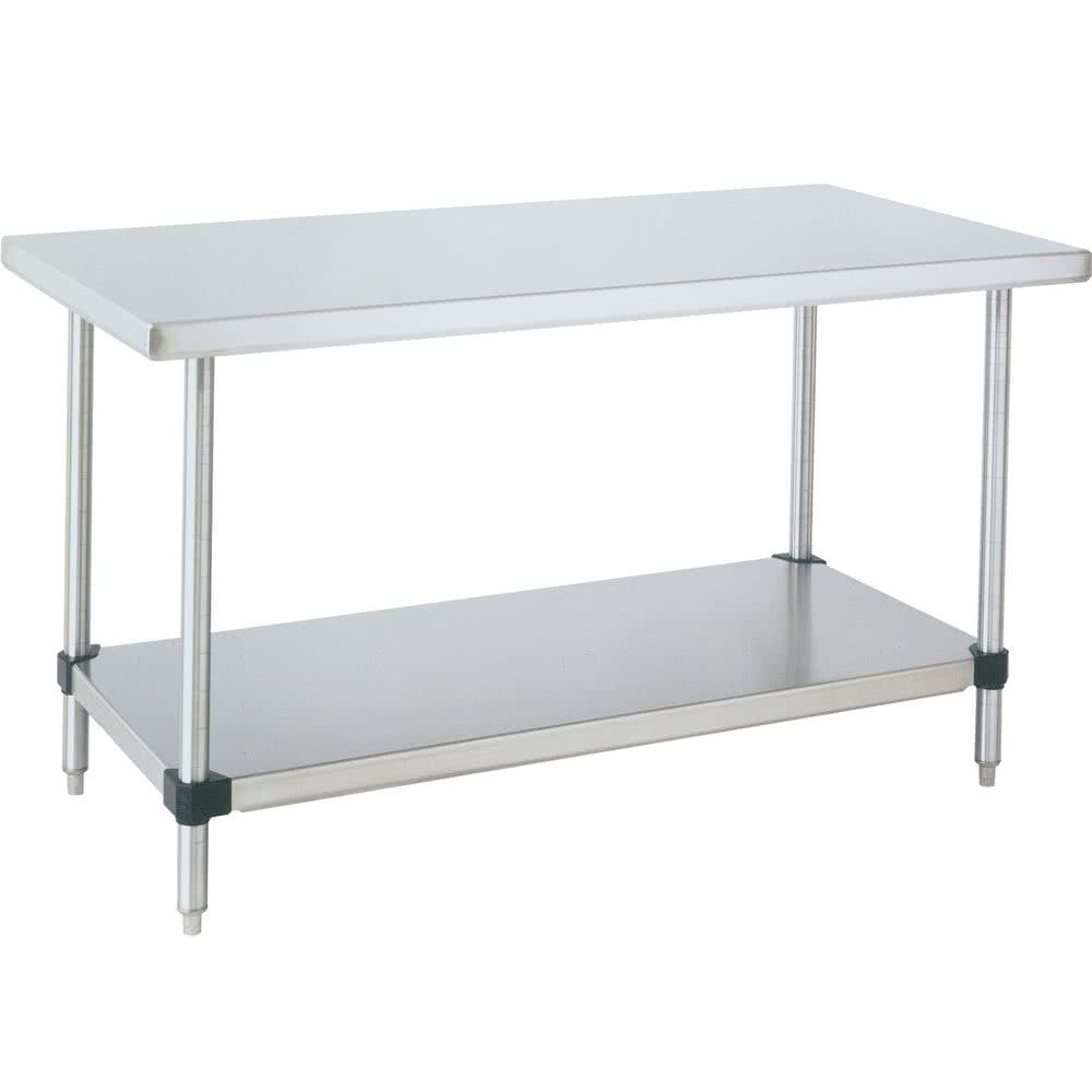 Space Saver Stationary Stainless Table  w/ Under Shelf