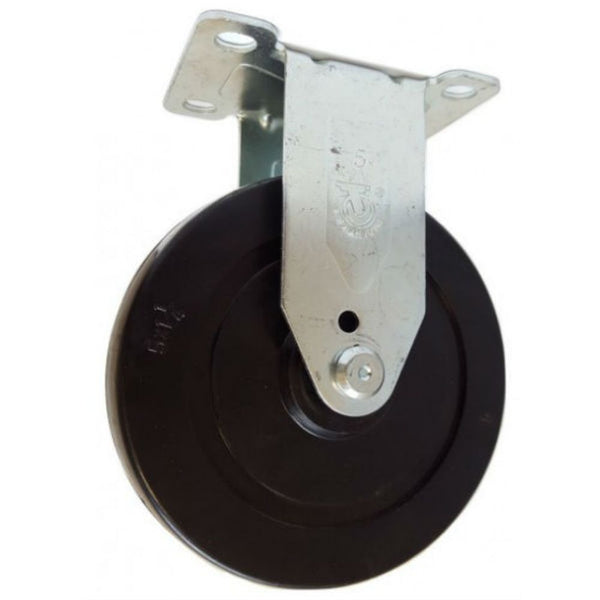 "5"" x 1-1/4"" Soft Rubber Wheel Rigid Caster - 350 Lbs. Capacity"