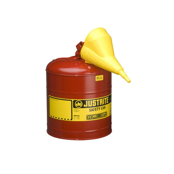 Type I Steel Safety Can, Funnel, 5 Gal,S/S Flame Arrest,Self-Close Lid