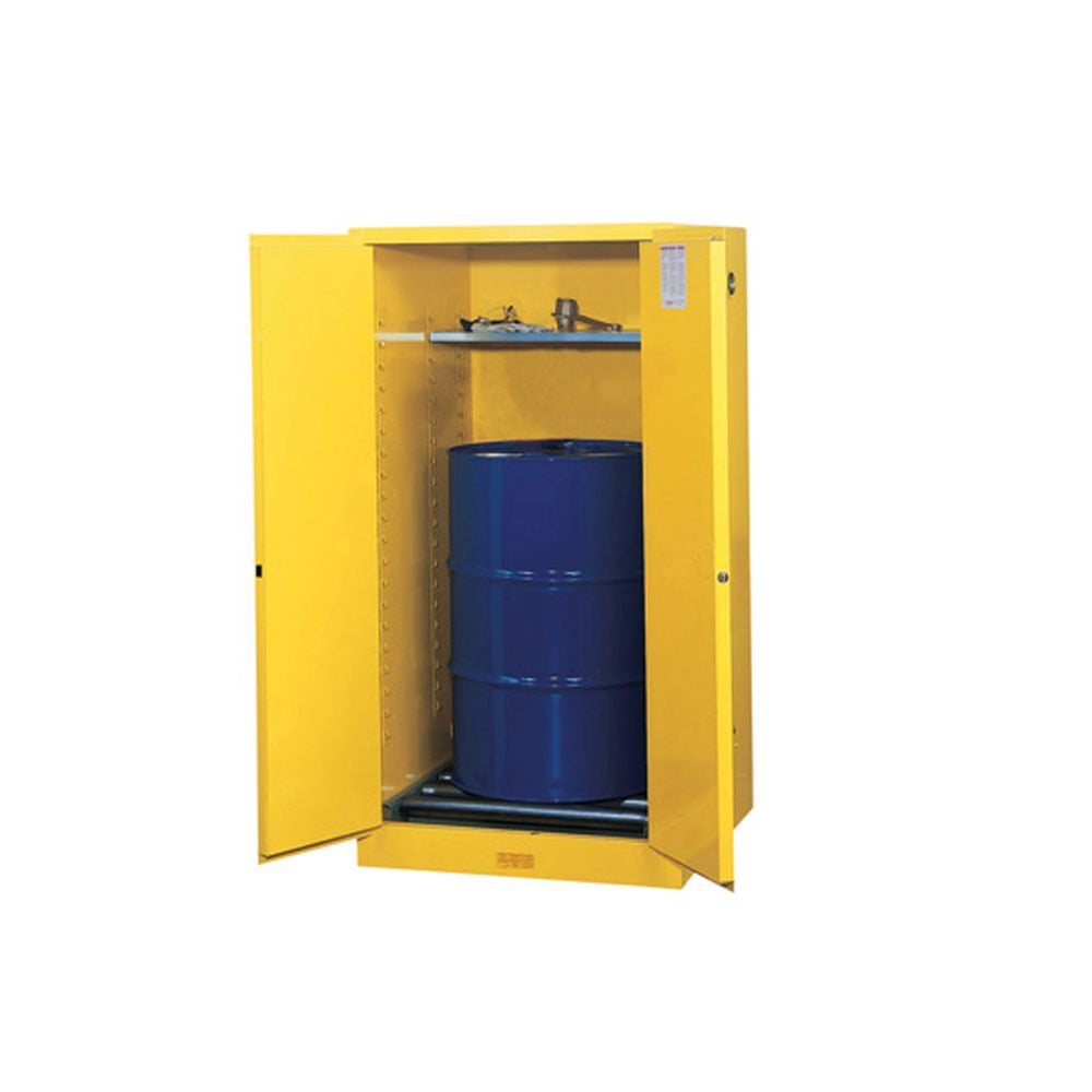 Sure-Grip Ex Vertical Drum Safety Cabinet, Rollers, 55 Gal, 2 S/C Dr