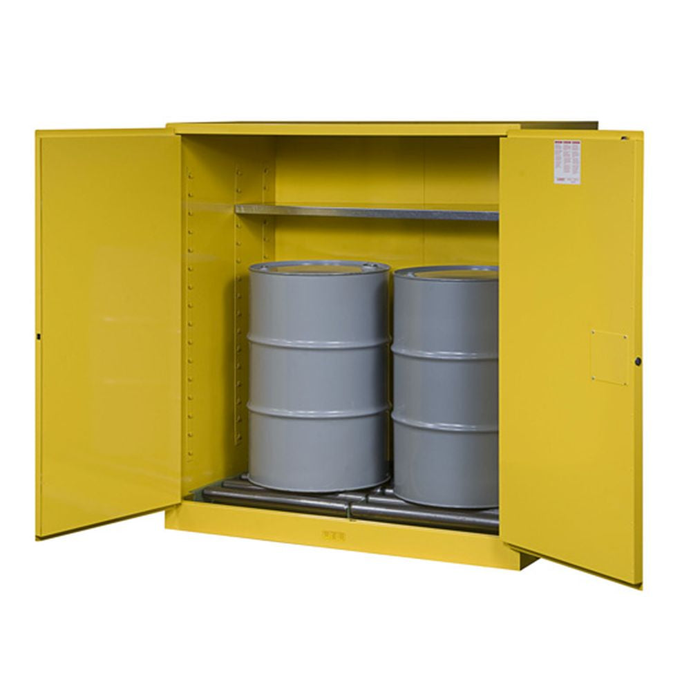 Sure-Grip EX Vertical Drum Safety Cabinet, Rollers, 110 Gal, 2 M/C Dr
