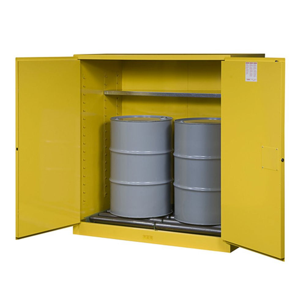 Sure-Grip Ex Vertical Drum Safety Cabinet, Rollers, 110 Gal, 2 S/C Dr