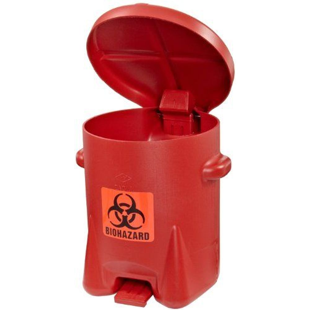 BioHazardous Waste Can 6 Gal. Red Poly