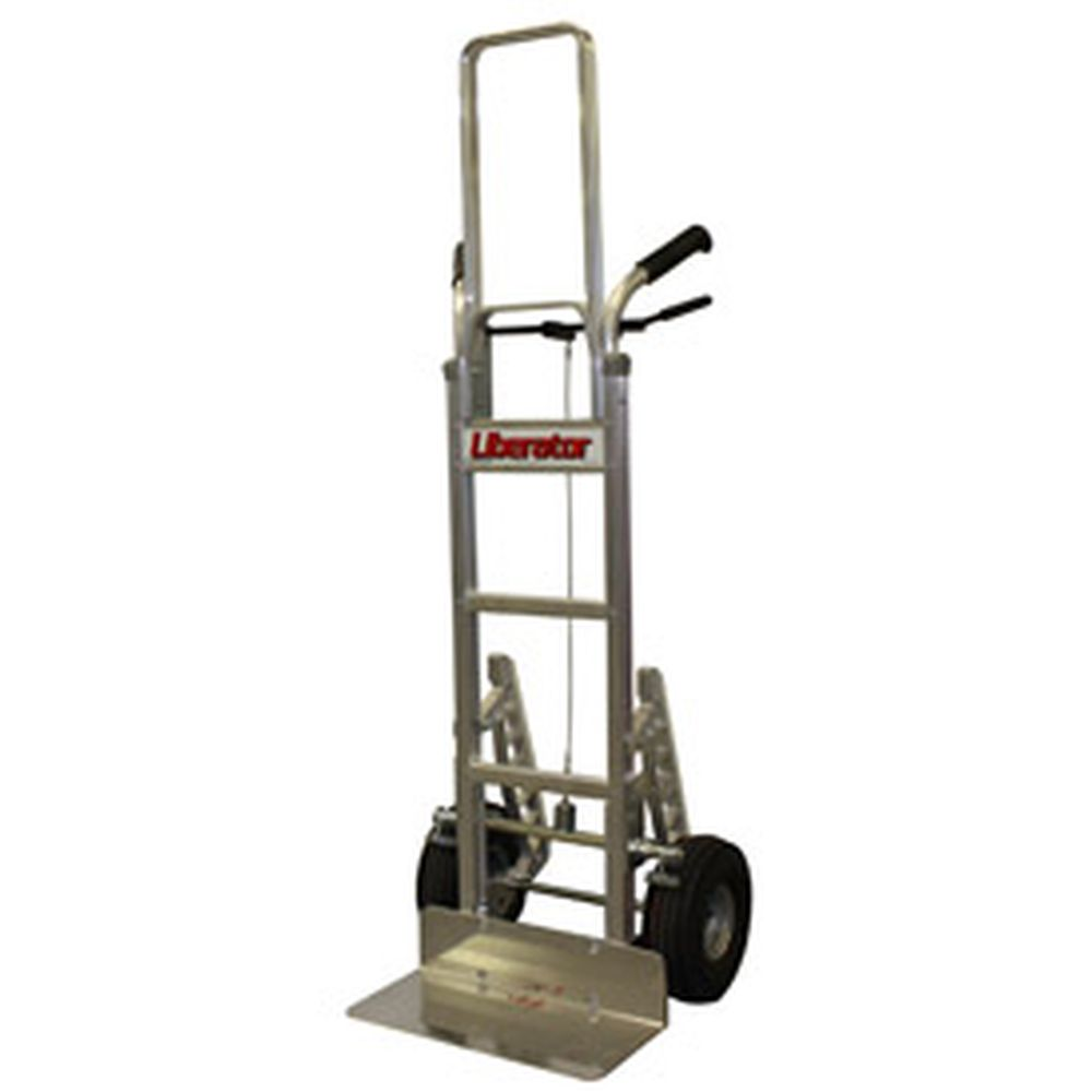 B&P Tread Brake Double Handle Hand Truck w/ Flat Free Wheels