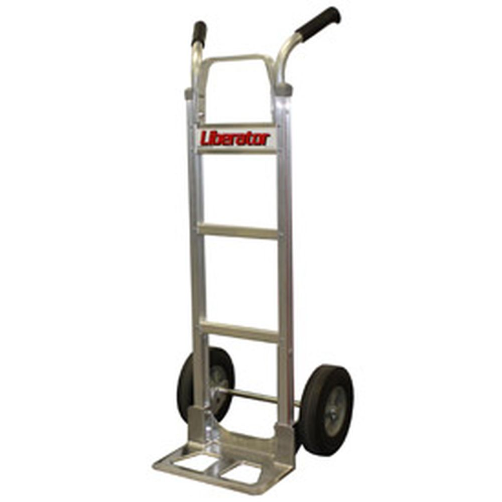 B&P Aluminum Hand Truck Double Handle Semi-Pneu Wheels