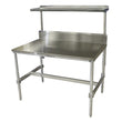 "Stainless Steel Top I Frame Table (30""D) w/ Backsplash and Over-Shelf"