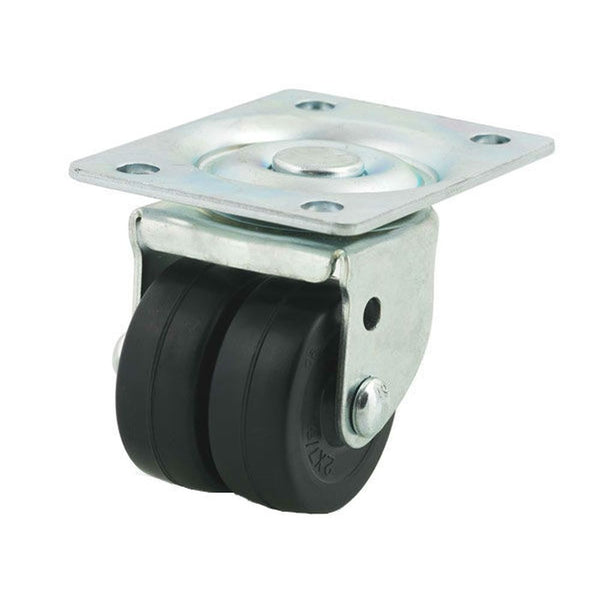 "2"" Double Wheel Hard Rubber Swivel Caster - 200 lbs. Capacity"