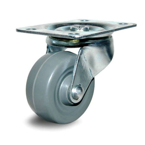 "2-1/2"" Non-Marking Gray Rubber Wheel Swivel Caster - 100lb. Capacity"