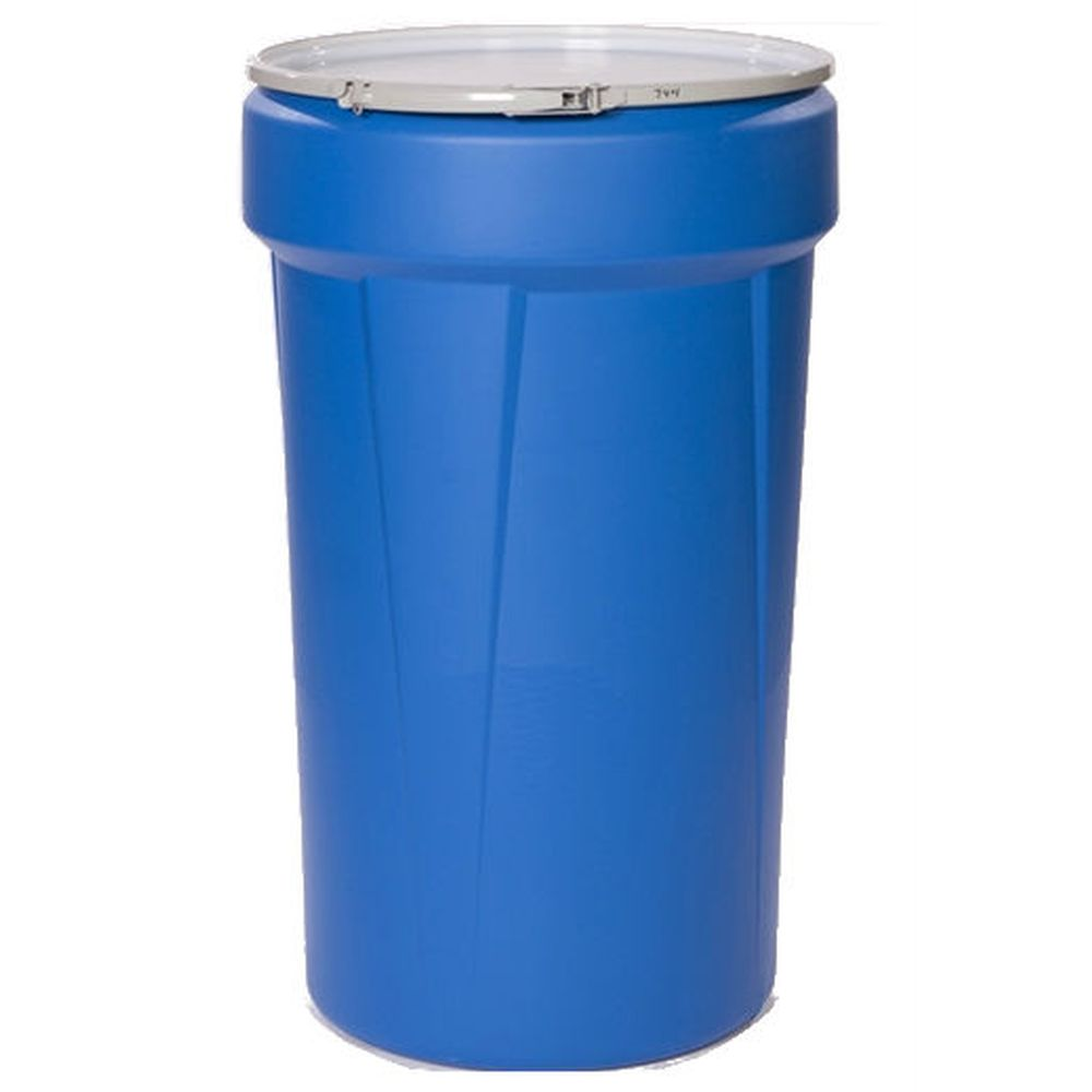 Open Head Poly Drum, 55 Gal. Blue w/ Metal Lever Lock