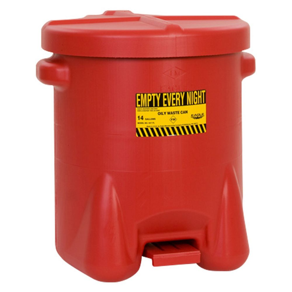 Oily Waste Can 14 Gal. Red Poly