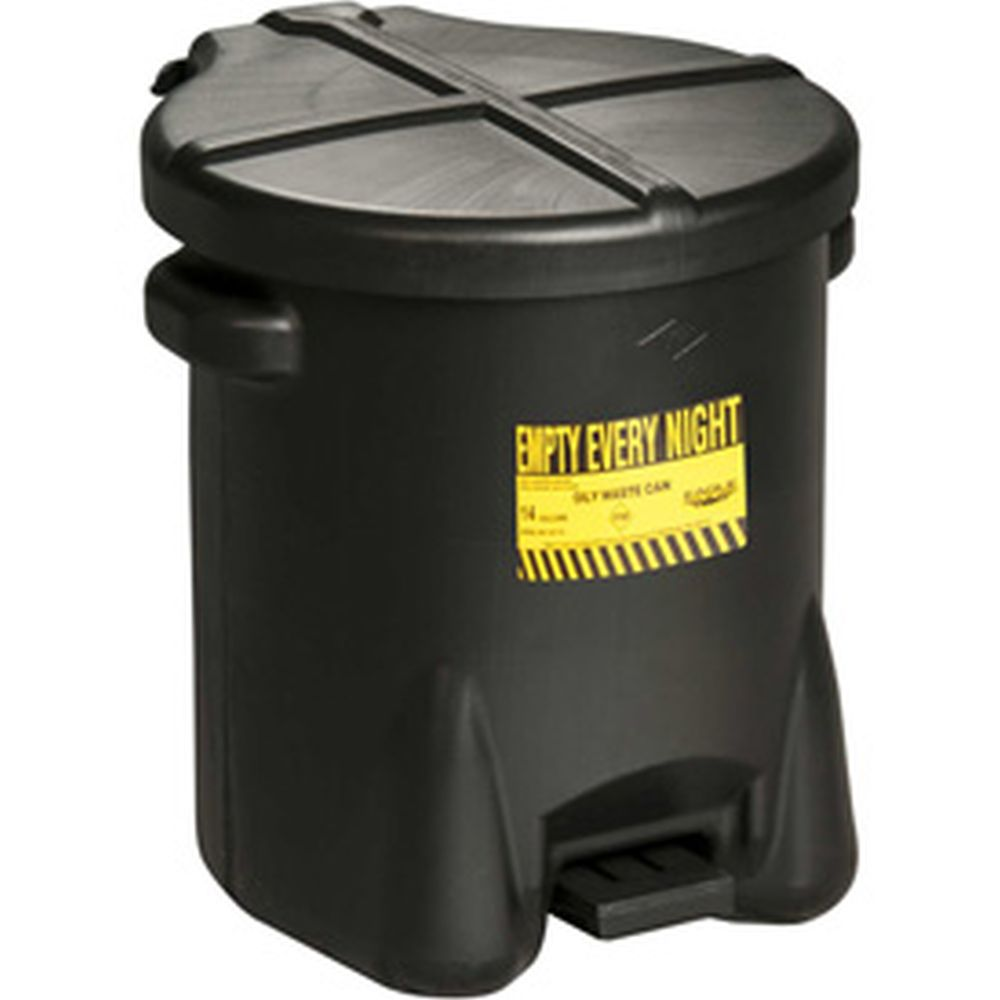 Oily Waste Can 14 Gal. Black Poly - 937-FLBLK
