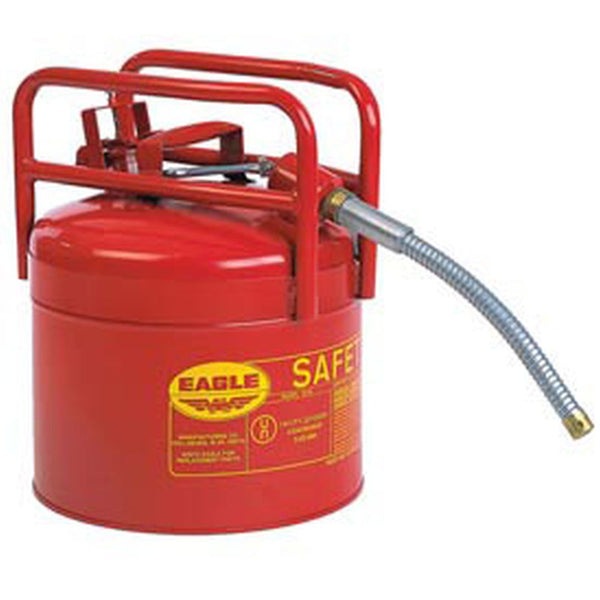 "D.O.T. Type II Safety Can 5 Gal. Red Galv. Steel w/ 5/8"" Flexible Hose"