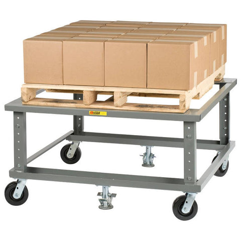 Ergonomic Adjustable Height Mobile Pallet Stand w/ Handle (Open Deck)