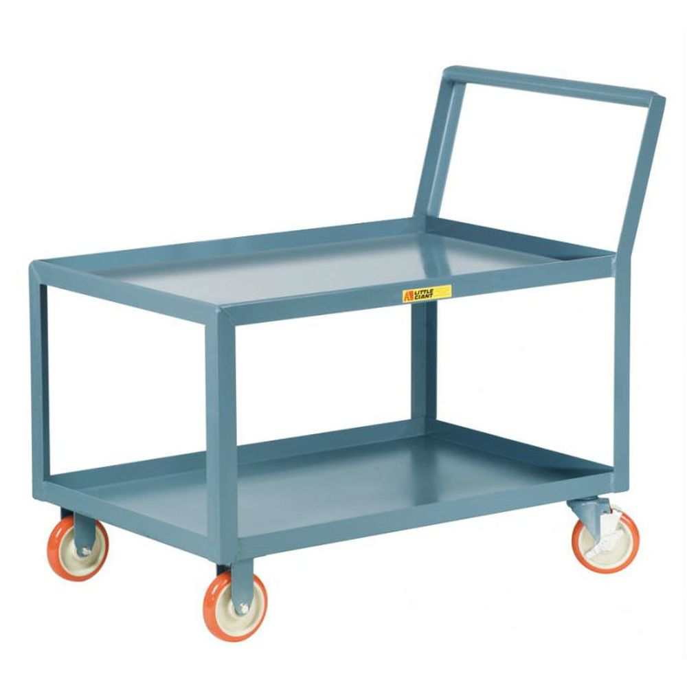 Low Deck Shelf Truck - Sloped Handles Lipped Steel Top Locking Casters