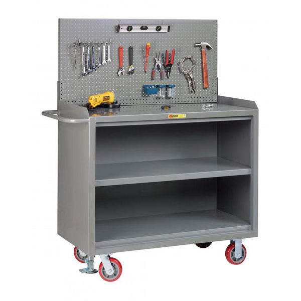 "48""W Mobile Bench Cabinet w- Pegboard Tool Storage (Solid Steel Top)"