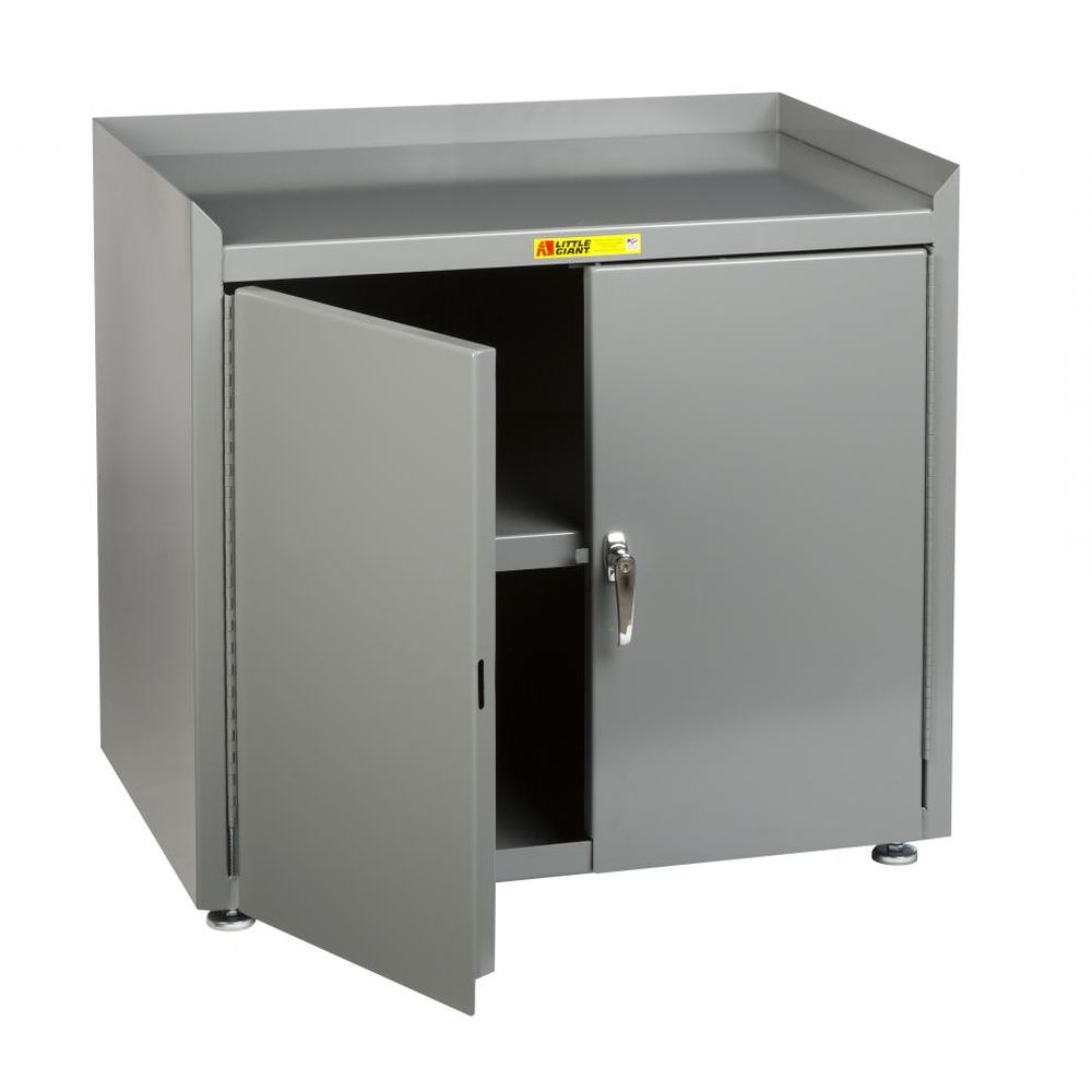 Stationary Shop Cabinet w/ Leg Levelers (Solid Steel Top)