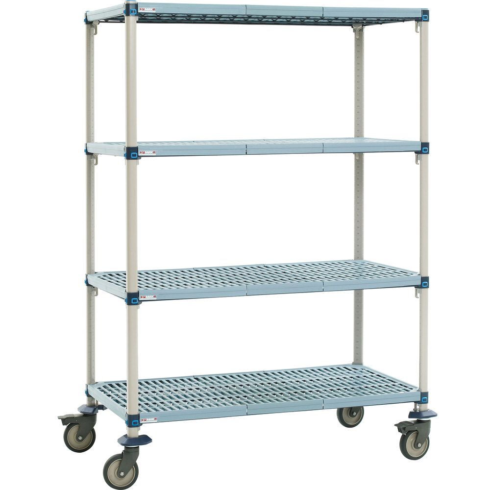 Mobile MetroMax Q Polymer Shelving, Steel Posts 18