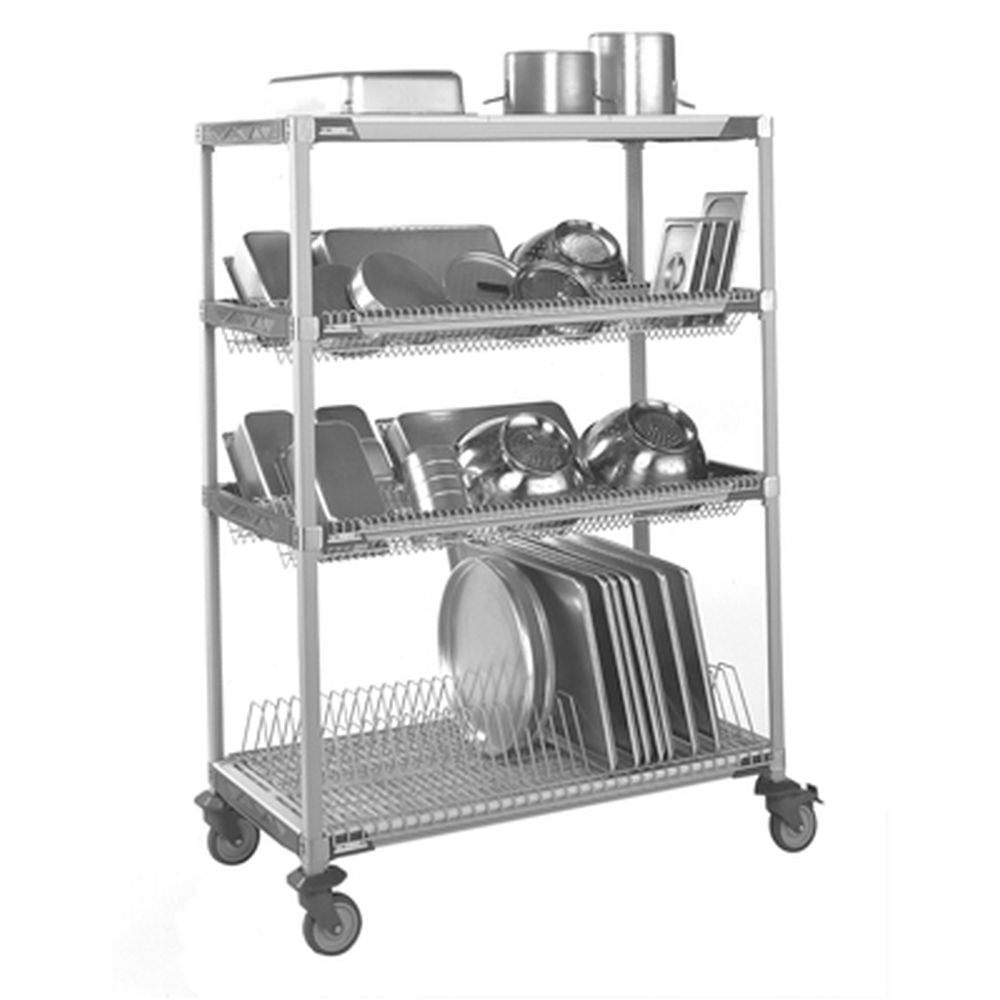 Mobile MetroMax i Drying Rack, 1 Tray Drying Lvl, 2 Drop-In Lvls, Shlf