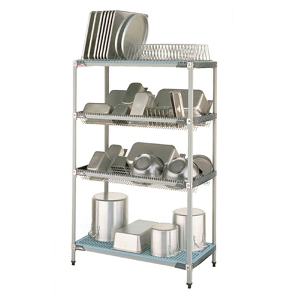 MetroMax i Drying Rack, 1 Tray Drying Lvl, Two Drop-In Lvls, Btm Shlv