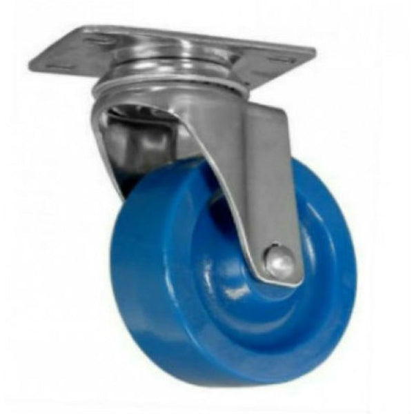 "4"" x 1-1/4"" DuraLastomer Wheel Swivel Caster Stainless Steel - 350 lbs capacity"