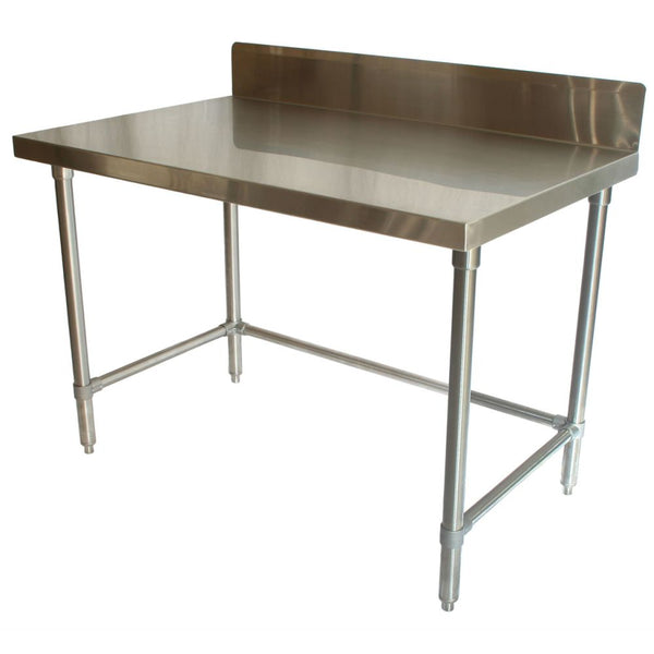"Stainless Steel Table (24""D) w/ Backsplash"