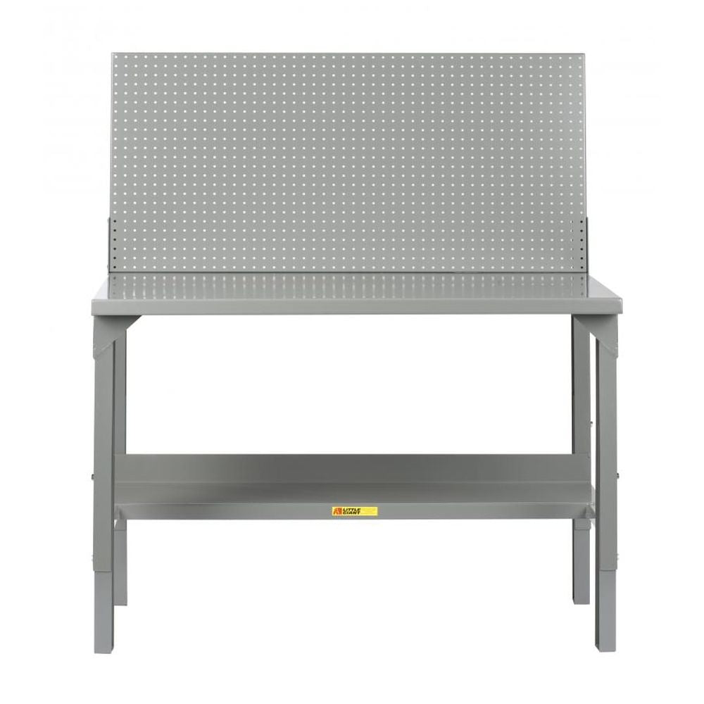 Welded Workbenches Adjustable Height w/ Backstops and Pegboard