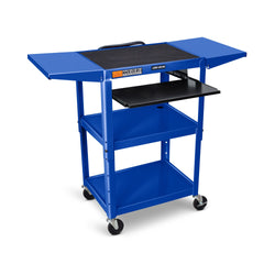 Adjustable Height Steel AV Cart w/ Drop Leaf Shelves (3 Shelves)