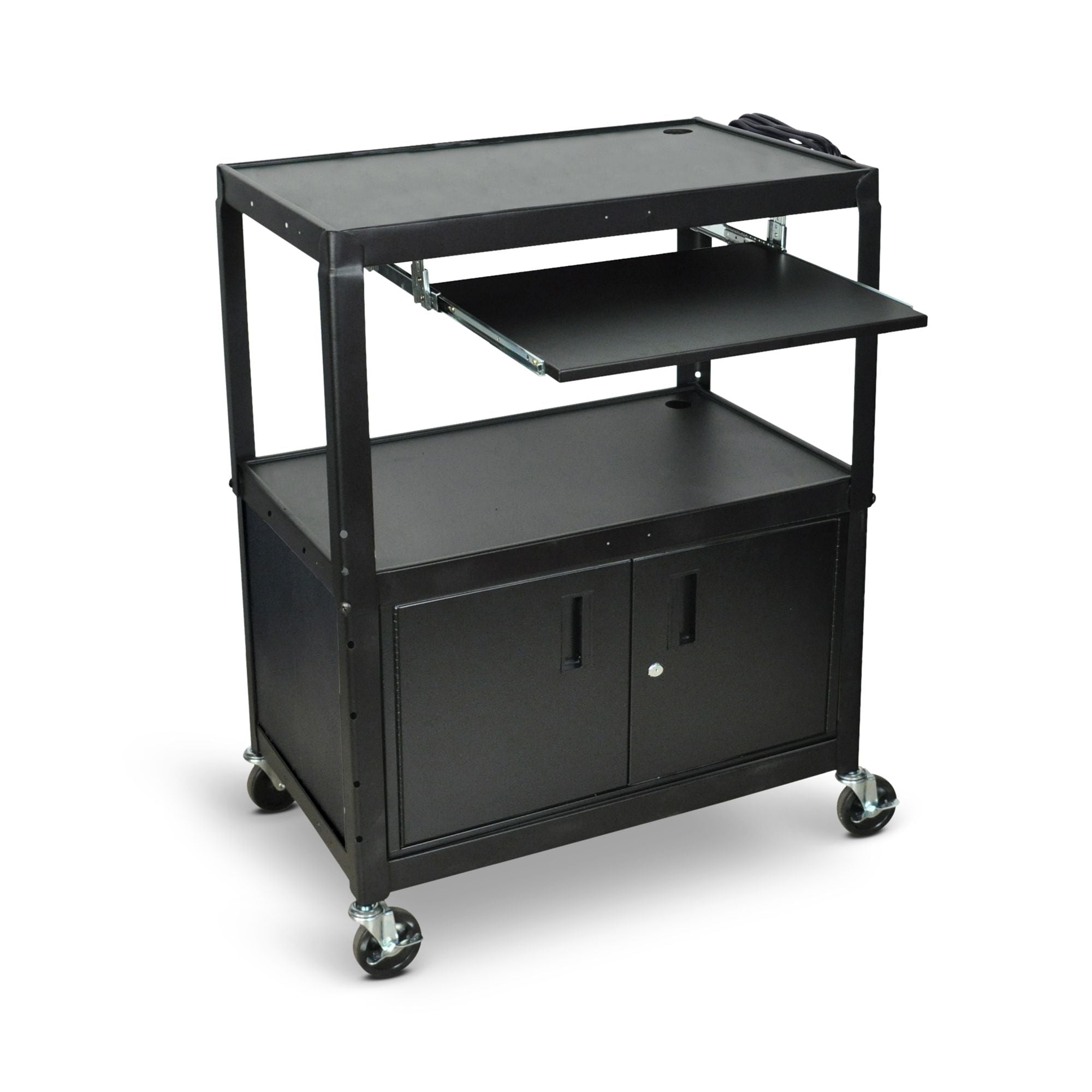 Large Adjustable Height Steel AV Cart w/ Keyboard Tray (Cabinet)