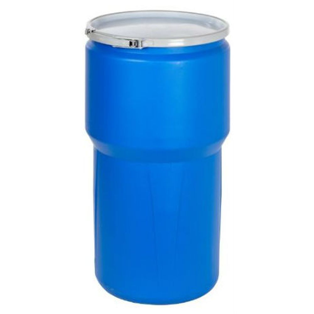 Open Head Poly Drum, 14 Gal. Blue w/ Metal Lever Lock