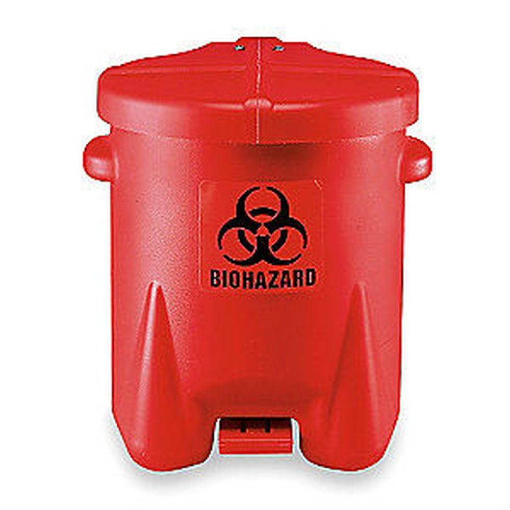 BioHazardous Waste Can 10 Gal. Red Poly