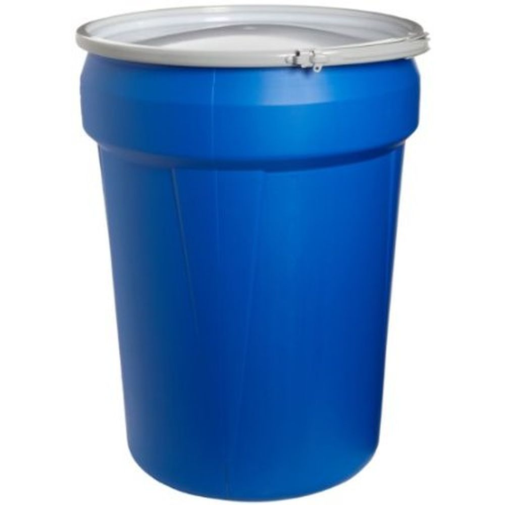 Open Head Poly Drum, 30 Gal. Blue w/ Metal Lever Lock