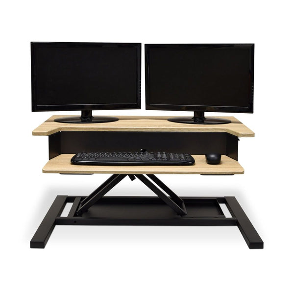 Standing Desk Converter Level Up Pro 32 w- White Oak Top (Pneumatic
