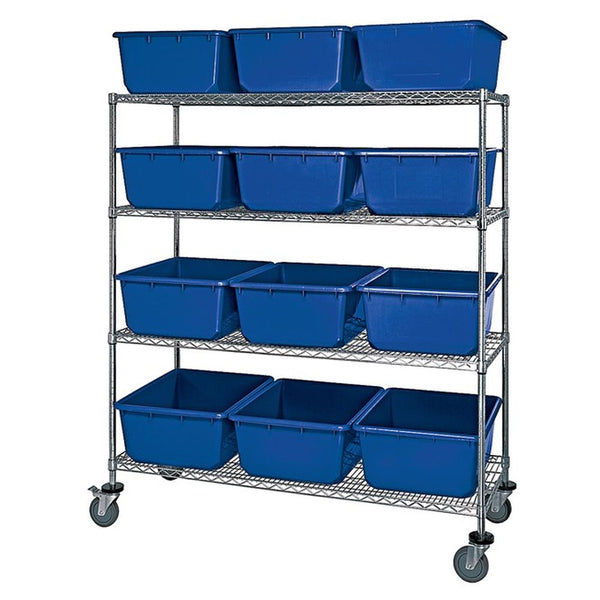 Mobile Wire Shelving System w/ 12 QuanTub Totes