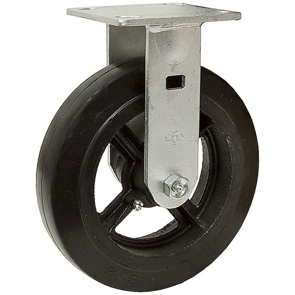 "8"" x 2"" Mold-On Rubber Cast Wheel Rigid Caster - 600 lbs. capacity"
