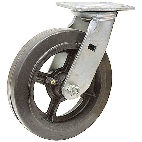 "8"" x 2"" Mold-On Rubber Cast Wheel Swivel Caster - 600 lbs. capacity"
