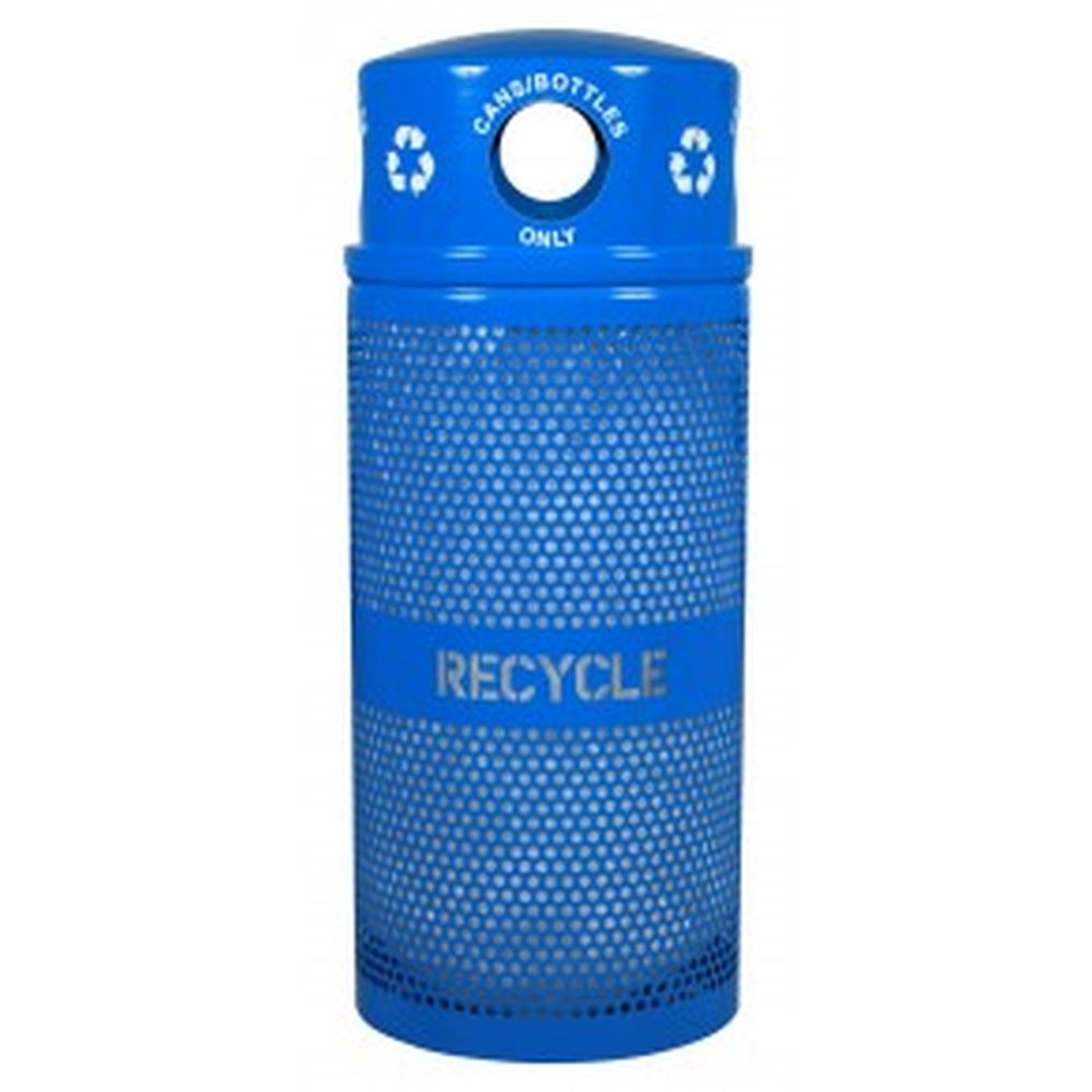Landscape Series Perforated Recycling Receptacle w- Dome Top (34 Gal.)