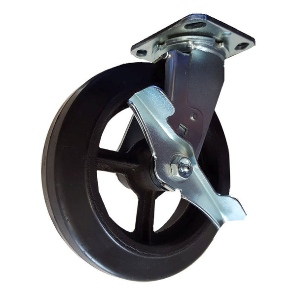 "8"" x 2"" Mold-On Rubber on Cast Swivel Caster, Brake 600 lbs. Cap"