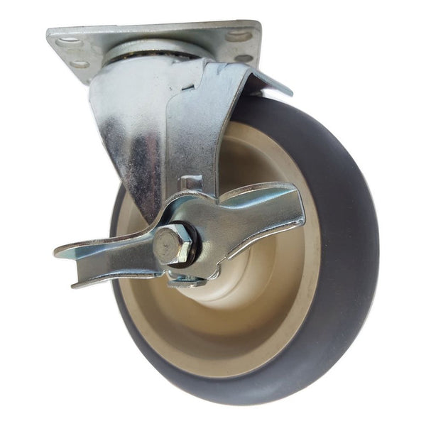 "5"" x 1-1/4"" Thermo-Pro Wheel Swivel Caster W/ Brake - 300 lbs. capacity"