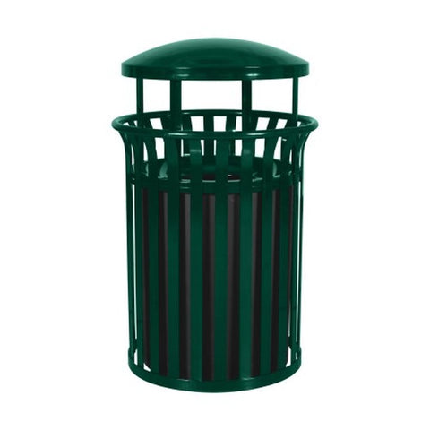 Streetscape Classic Outdoor Trash Receptacle w/ Rain Canopy (35 Gal.)