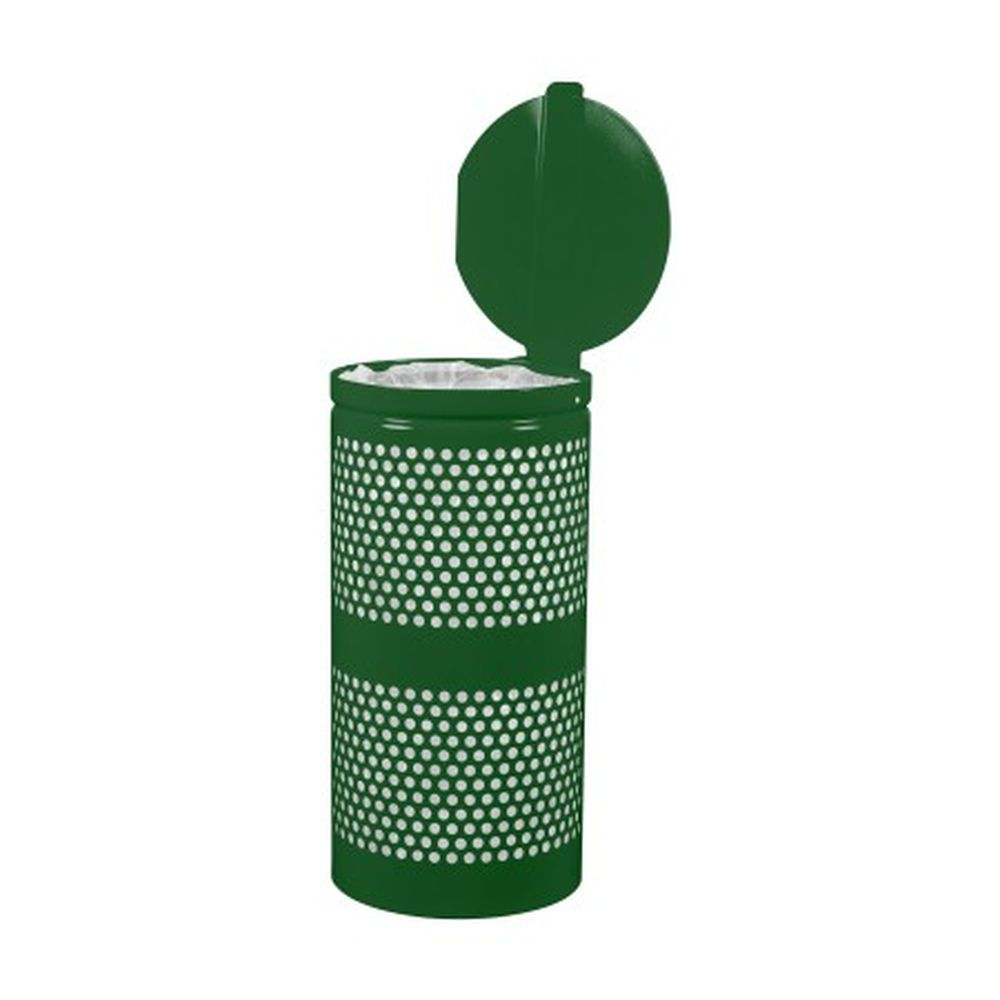 Landscape Series Perforated Waste Receptacle w- Lid (10 Gallon)