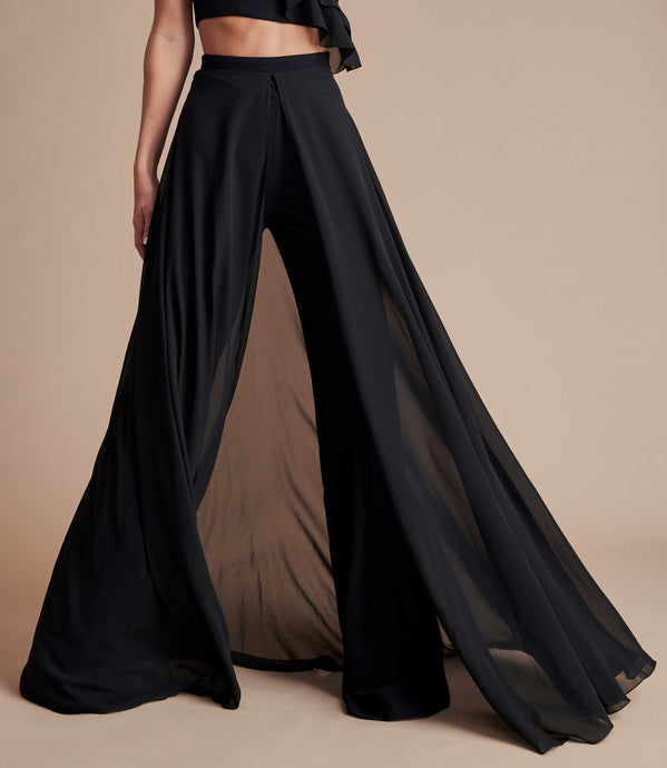 Black high-waisted wide leg trouser with floaty chiffon.