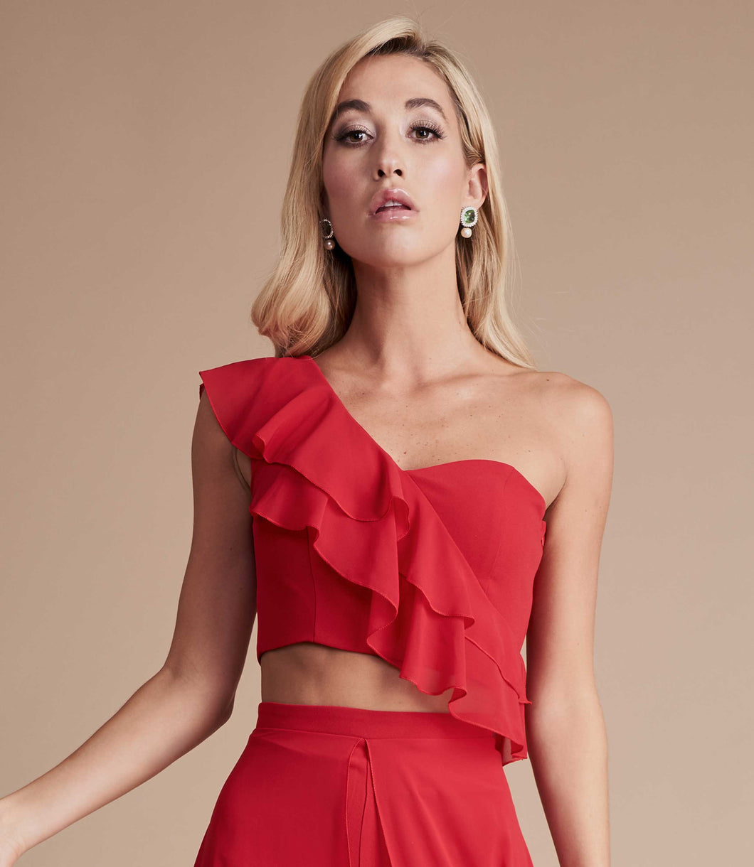 Red ruffle crop top