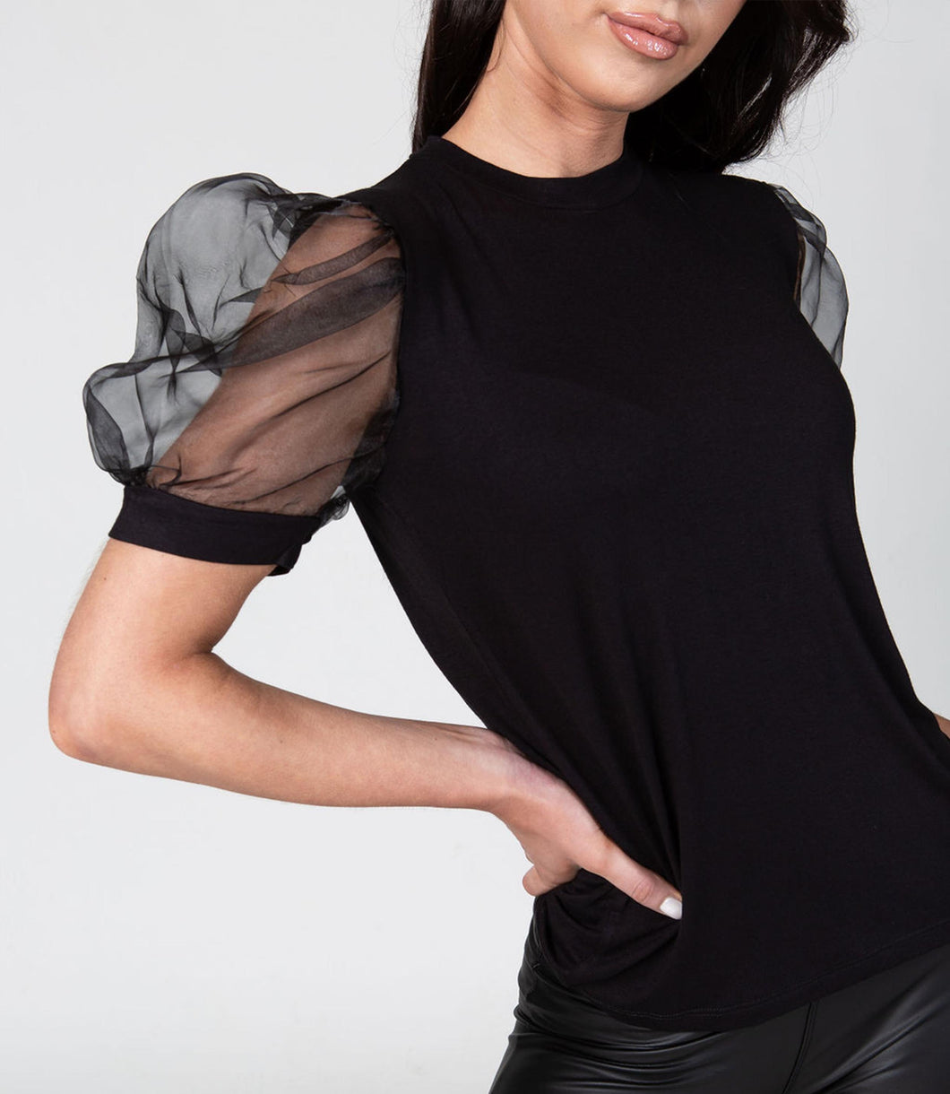 Black Puffy Sleeve Top