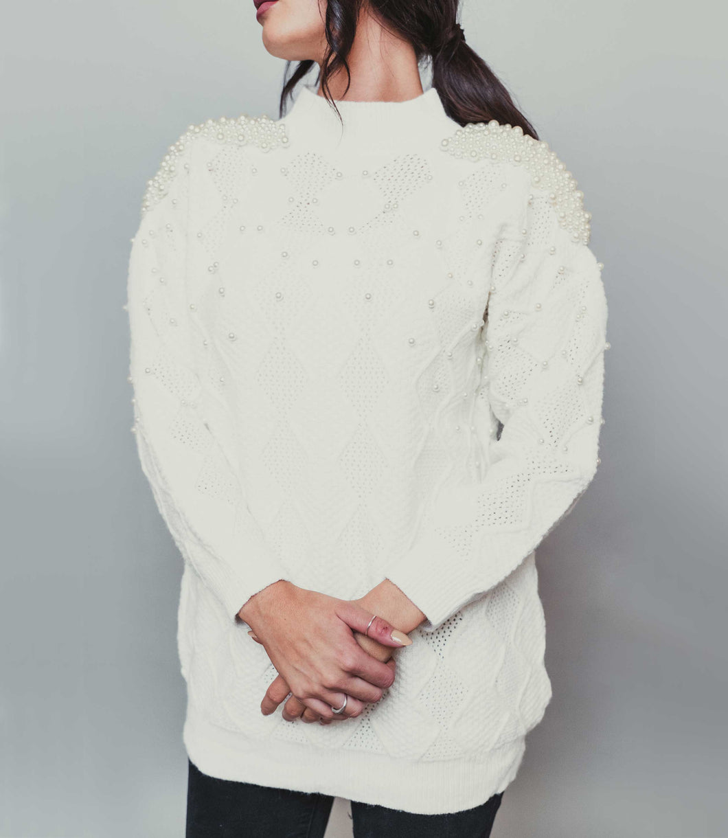 Women's White Pearl Jumper