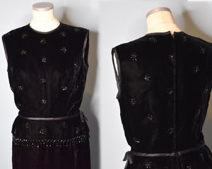 Vintage 1960s Union Made Black Velvet Beaded Dress, MEDIUM